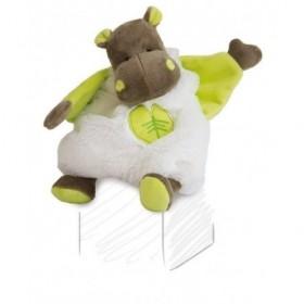 Accueil Babynat doudou Babynat Hippo Blanc feuille vert BN049 Bazile Plat
