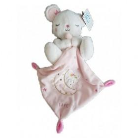 Accueil Z'autres marques Doudou Kiabi Souris Blanc Mouchoir Rose Etoile Love Pantin