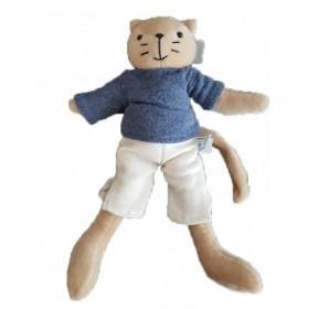 Accueil Z'autres marques Doudou Petits Descamps Chat Bleu Jules Pantalon blanc Pull Bleu 30cms Pantin
