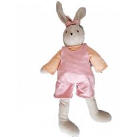Accueil Z'autres marques Doudou Petits Descamps Lapin Rose Joris Salopette Rayure Orange 50cms Pantin