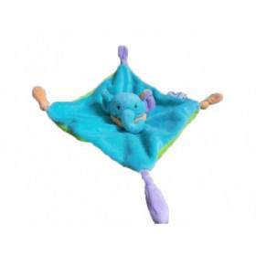 Accueil Z'autres marques Doudou Super U Elephant Bleu Col Orange Dos Vert 4 Nœuds  Plat