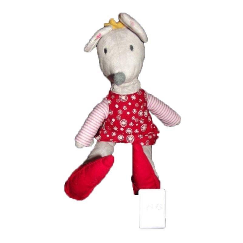 Accueil Z'autres marques Doudou Ikea souris grise robe rouge fleurs rose