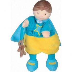 Accueil Doudou et Compagnie Doudou et Compagnie super heros marionnette jaune et bleu DC2354