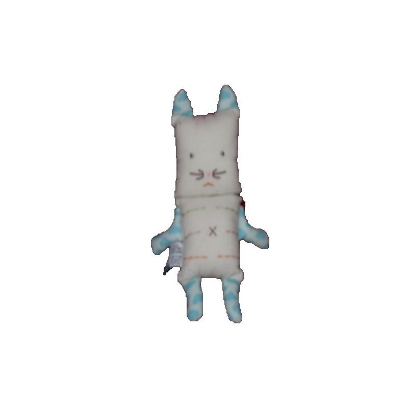 Accueil Z'autres marques Doudou Papili Chat blanc bras et oreilles bleu 18cms