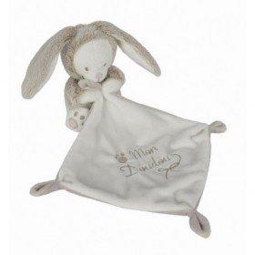 Accueil Nicotoy Doudou Nicotoy / Kitchoun Ours deguise en lapin gris marron tenant un mouchoir Laline Nature mon doudou 579/3856