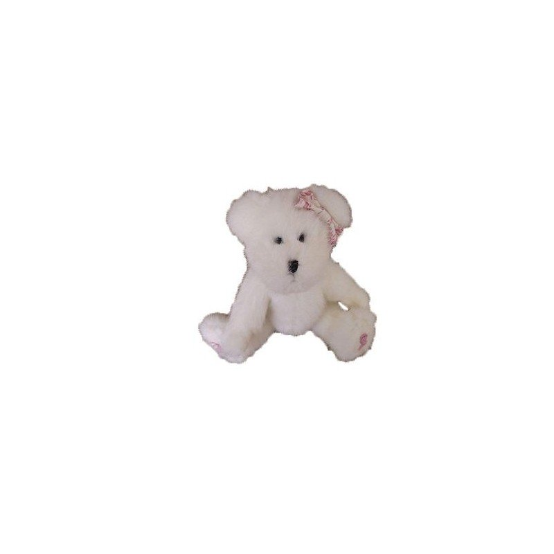 Accueil Z'autres marques Doudou The boyds collection Peluche ours bears blanc et rose white and pink assis articule 20cms