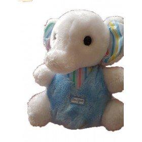 Accueil Z'autres marques Doudou Boulgom Elephant blanc et bleu assis oreille raye