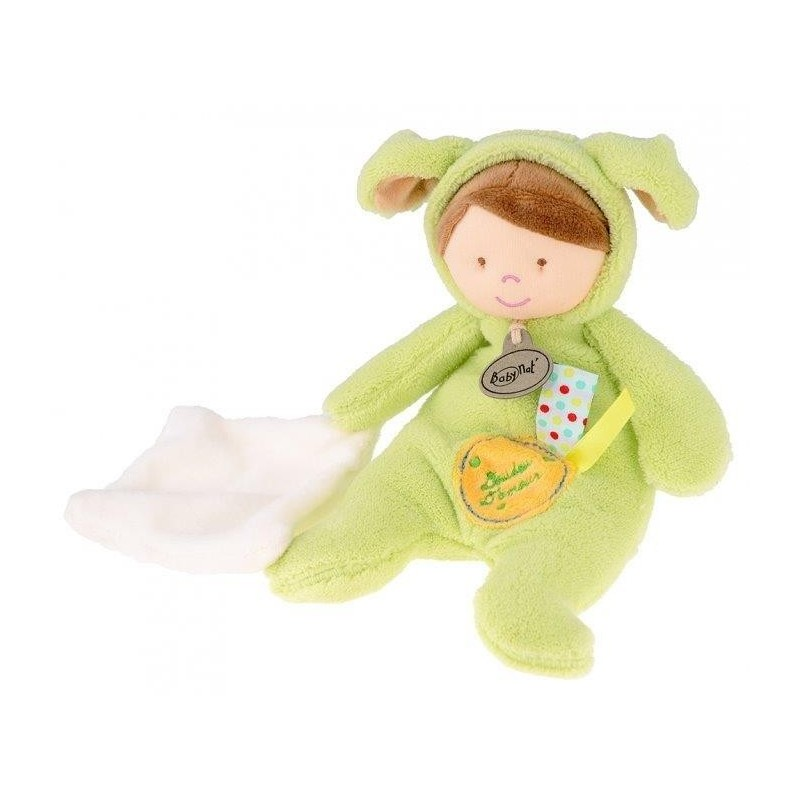 Accueil Babynat Doudou Babynat poupon garcon deguise en chien vert BN795