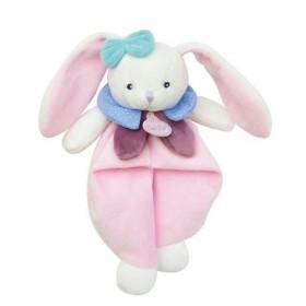 Accueil Babynat doudou Babynat Lapin Rose Col Bleu Pois blanc BN0242 Pom & Berry Plat