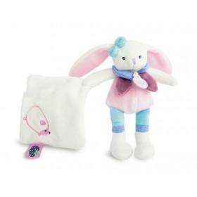 Accueil Babynat doudou Babynat Lapin Rose Jambes Bleu Mouchoir Blanc 15cms BN0241 Pom & Berry Pantin