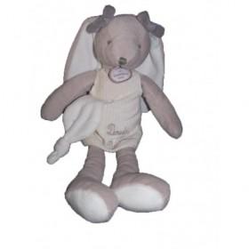 Accueil Doudou et Compagnie Doudou doudou et compagnie lapin gris doudou d'amour robe blanche mouchoir
