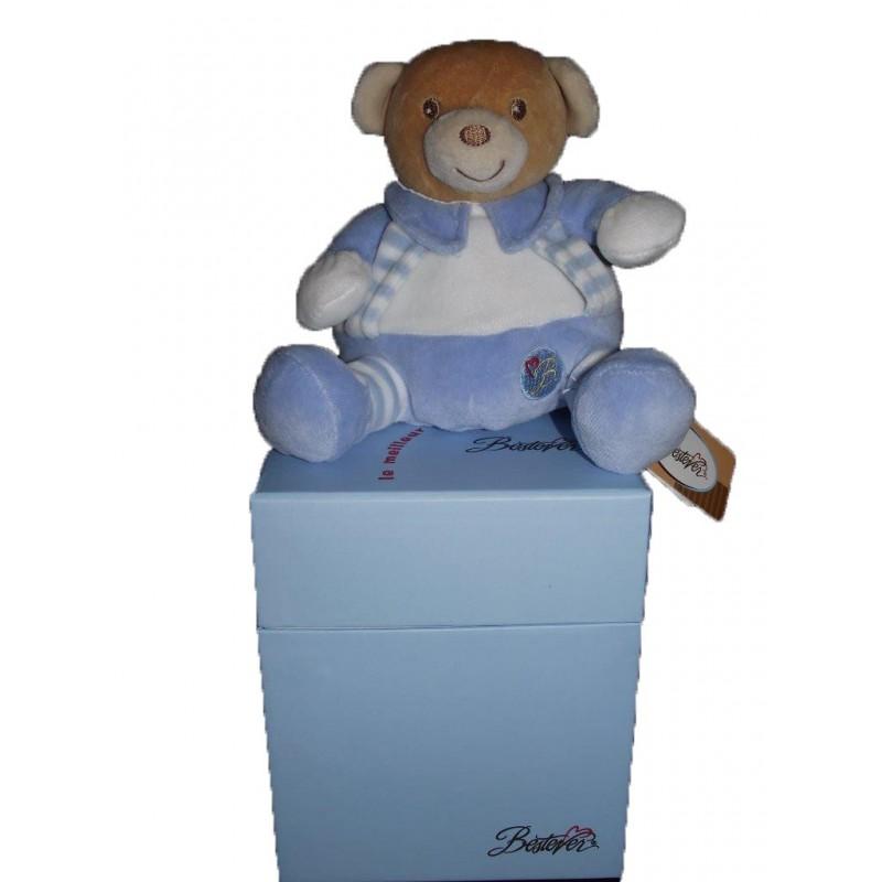 Accueil Z'autres marques Doudou Bestever ours boule hochet bleu et blanc Harmonie