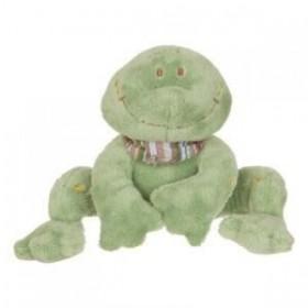 Accueil Noukies Doudou Noukies Noukie's EPA Aldo la grenouille frog 15cms vert foulard rayee Neuf