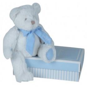 Accueil Doudou et Compagnie Doudou et Compagnie ours bear Blanc col Bleu 25cms mon tout petit DC2341