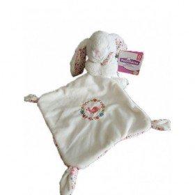 Accueil Pommette Doudou Pommette Lapin Blanc mouchoir blanc oreilles fleurs Pantin -