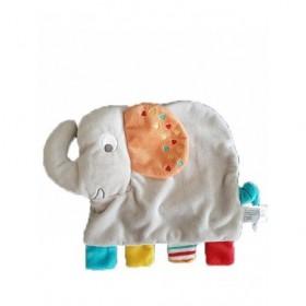 Accueil Nicotoy Doudou Nicotoy Elephant Gris Oreille orange queue bleu Plat -