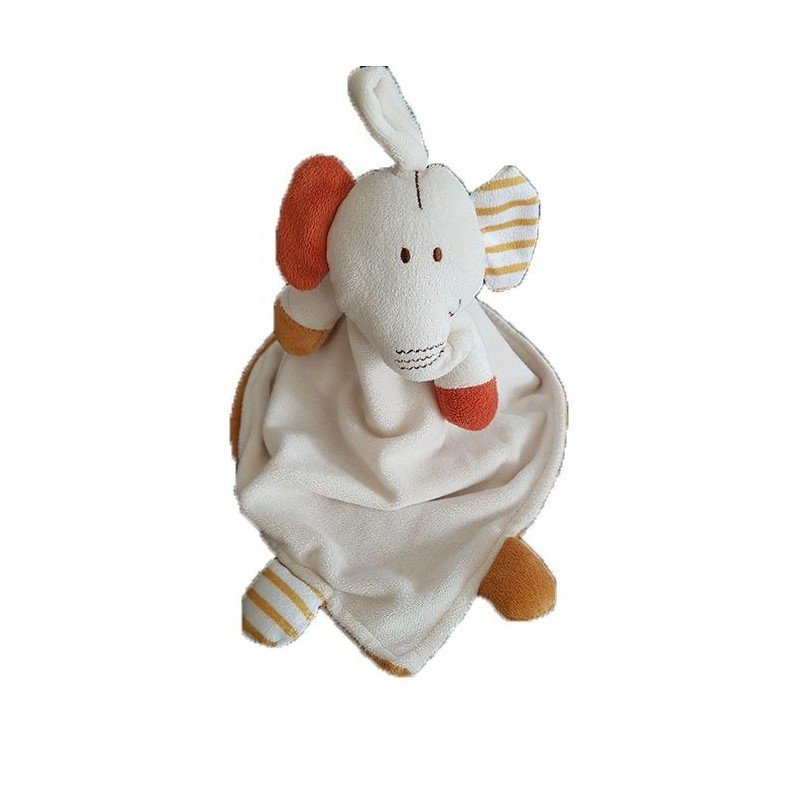Doudou Credit Agricole Elephant Blanc interieur marron  marionnette -