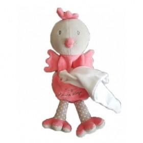 Accueil Sucre d'orge Doudou Sucre d'orge Poule Rose Poussin Cajou mouchoir blanc Pantin -
