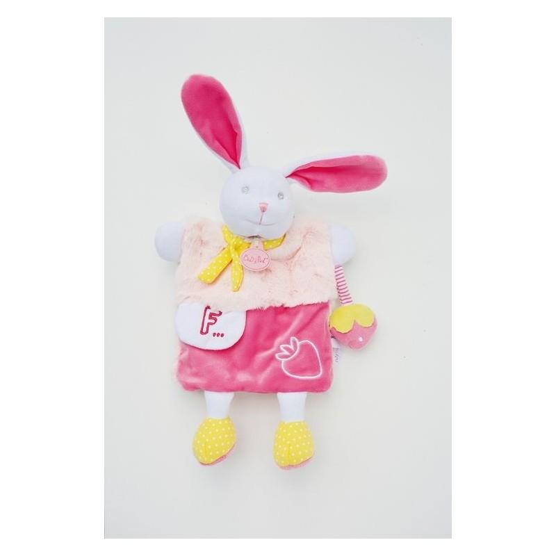 Accueil Babynat doudou Babynat Lapin Rose Blanc BN0282 Lettre F Les Douillettes Marionnette