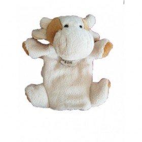 Accueil Histoire d'ours Doudou Histoire d'ours Vache Beige Dos marron marionnette -