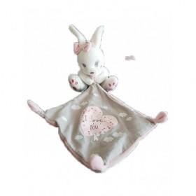 Accueil Nicotoy Doudou Kiabi Lapin Blanc mouchoir rose et gris I love you Pantin -