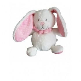 Accueil Tex Doudou Tex Lapin Blanc Oreille rose pois blanc Pantin -