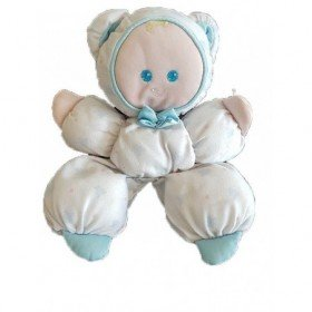 Accueil Z'autres marques Doudou Fisher Price Poupée Bleu Combinaison ours Pantin - vintage
