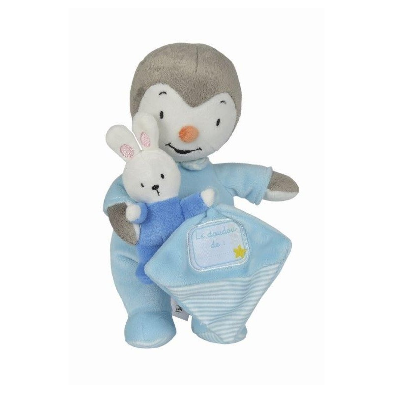 Doudou Nicotoy Personnage Bleu avec son pyjama Pantin - Tchoupi