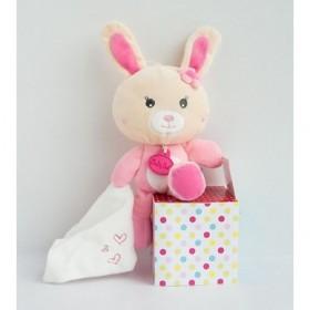 Accueil Babynat doudou Babynat Lapin Rose mouchoir blanc Cœur Kawaii Pantin