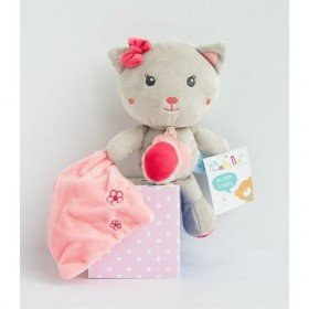 Accueil Babynat doudou Babynat Chat Gris Mouchoir Rose Kawaii Pantin
