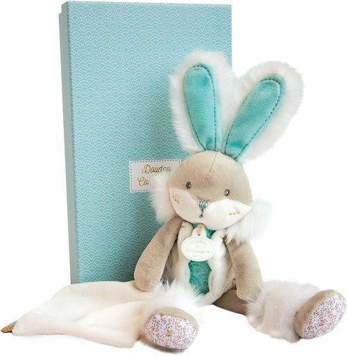 Blue Doudou Et Compagnie Bonbon Flat Doudou Rabbit Gift Box