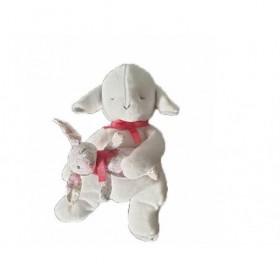 Accueil Jacadi Doudou Jacadi Mouton Blanc tenant un lapin liberty Pantin -