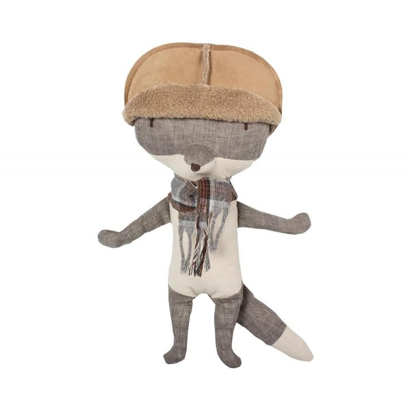 doudou Maileg Loup Gris avec Chapeau Medium Pantin