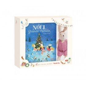 Accueil Moulin Roty Doudou moulin Roty Lapin Rouge Sylvain + Coffret livre Le noel de - La Grande Famille