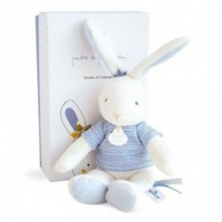 Accueil Doudou et Compagnie Doudou Doudou et compagnie Lapin Bleu Matelos Pull rayure blanc Pantin - Poudre de Perlidoudou