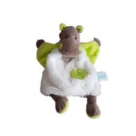 Accueil Babynat doudou Babynat Hippopotame Blanc plat Feuille Vert BN049 Bazile Plat