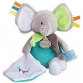 Accueil Babynat doudou Babynat Elephant Gris Vert avec Mouchoir Les Copains Pantin