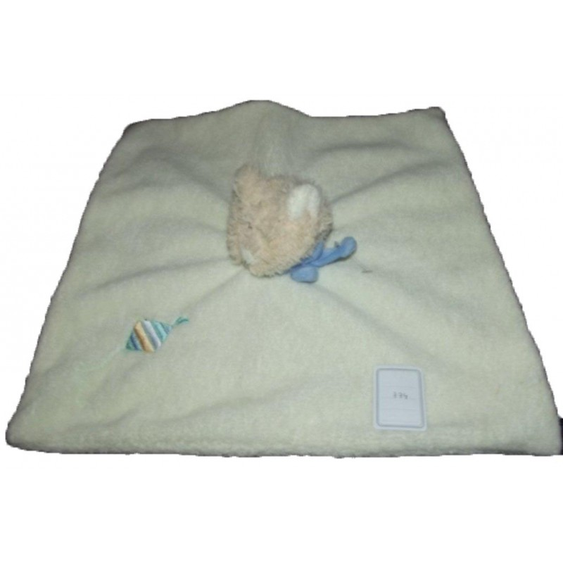 Accueil Bengy doudou Bengy Chat Blanc cerf volant blanc rayure floulard bleu plat