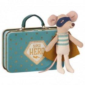 Accueil Maileg doudou Maileg Souris Bleu Super Heros dans une Valise Micro Pantin