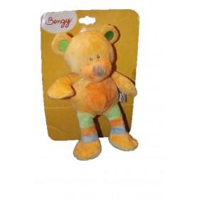 Accueil Bengy doudou Bengy Ours Orange foulard vert rayure bleu 27cms Pantin