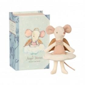 Accueil Maileg doudou Maileg Souris Rose Angel Mouse, Big sister dans un livre Mini Pantin