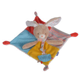 Accueil Nicotoy Doudou Nicotoy Lapin Jaune Carre 30 cm Plat - Twiny