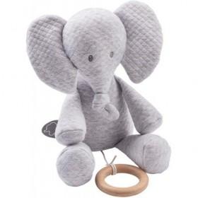 Accueil Nattou Doudou Nattou Elephant Gris Jacquard 32 cm Musical - Tembo