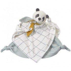 Accueil Kikadu Doudou Kikadu Panda Blanc Lange Coton Bio Gots Plat - Bio