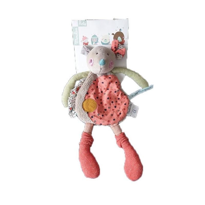Doudou Moulin Roty Souris Rose  Plat - 30 cm Les jolis Trop Beaux