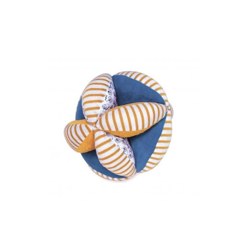 Accueil Doudou et Compagnie Doudou et Compagnie bio jaune et bleu Balle - de préhension 15 x 15 cm Pollen l abeille