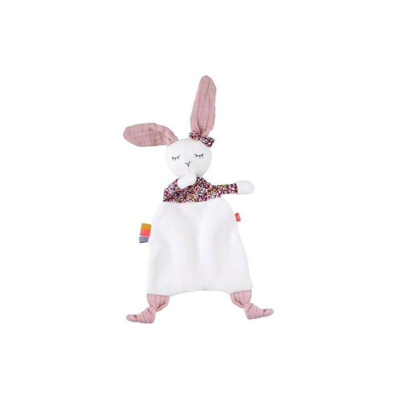 Doudou Kikadu Lapin Rose  Plat - 46 x 23 cm lapin fille