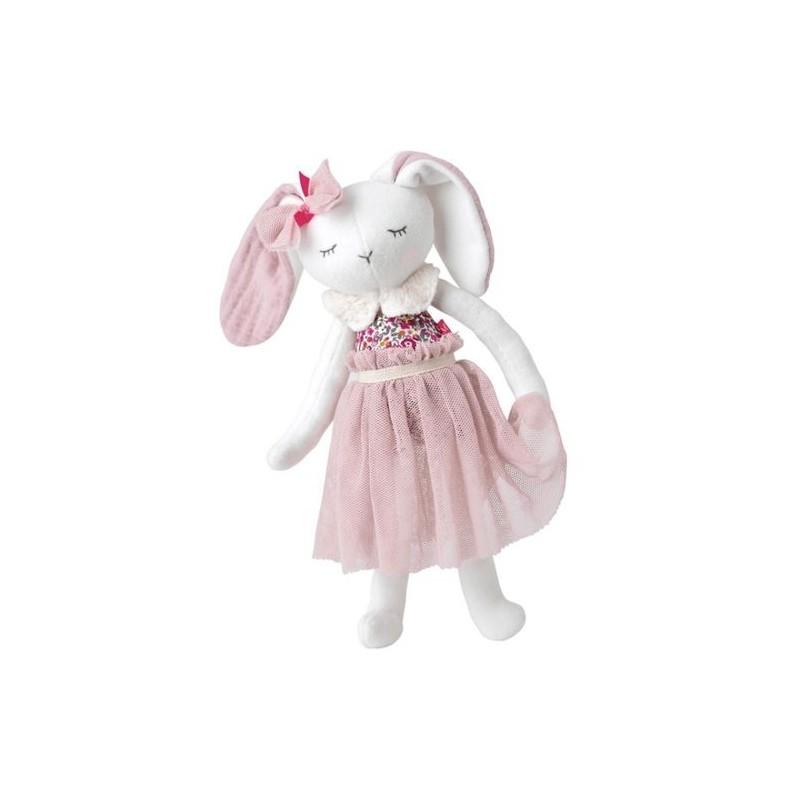 Doudou Kikadu Lapin Rose Bio Pantin - 50 x 25 cm Lapin fille