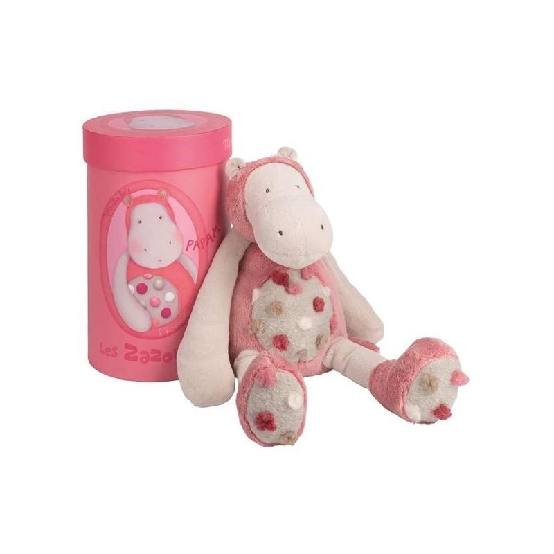 Doudou Moulin Roty Hippopotame Rose  Pantin - 33 cm Les Zazous