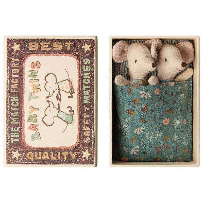 Accueil Maileg doudou Maileg Souris Gris Baby mice, Jumeau dans une Boite Micro Pantin